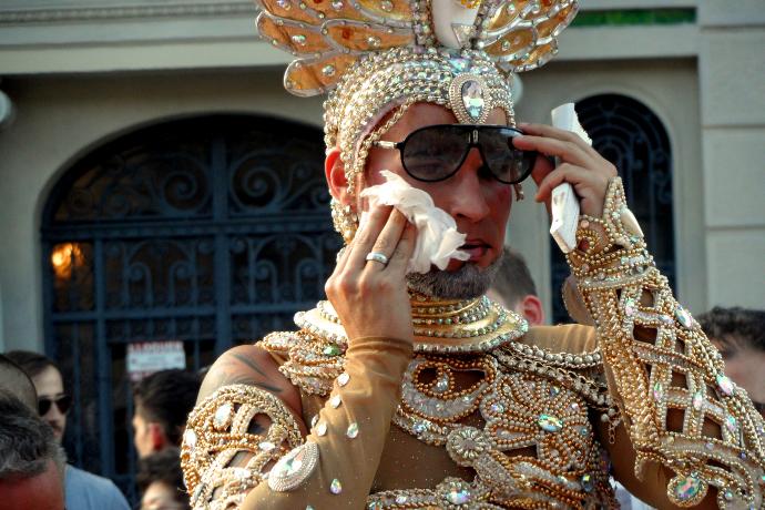 Pride Barcelona drag wiping face LiveLikeTom