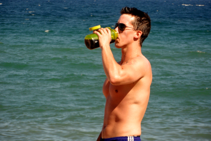 sexy guy drinking shirtless LiveLikeTom
