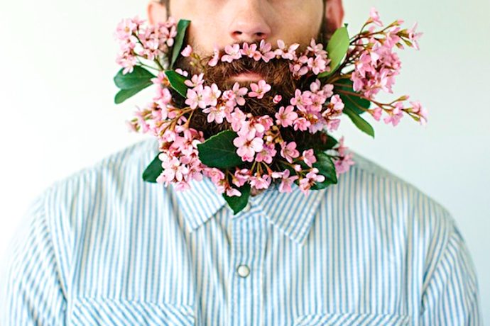 beard trend flowers in your beard 2014