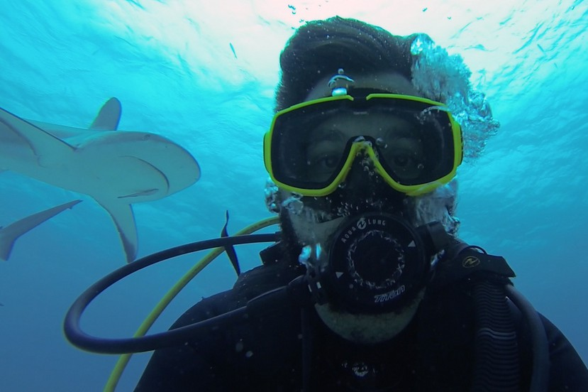 underwater selfie sexy guy shark