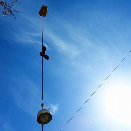 Fijn: strakblauwe lucht en zonlicht!