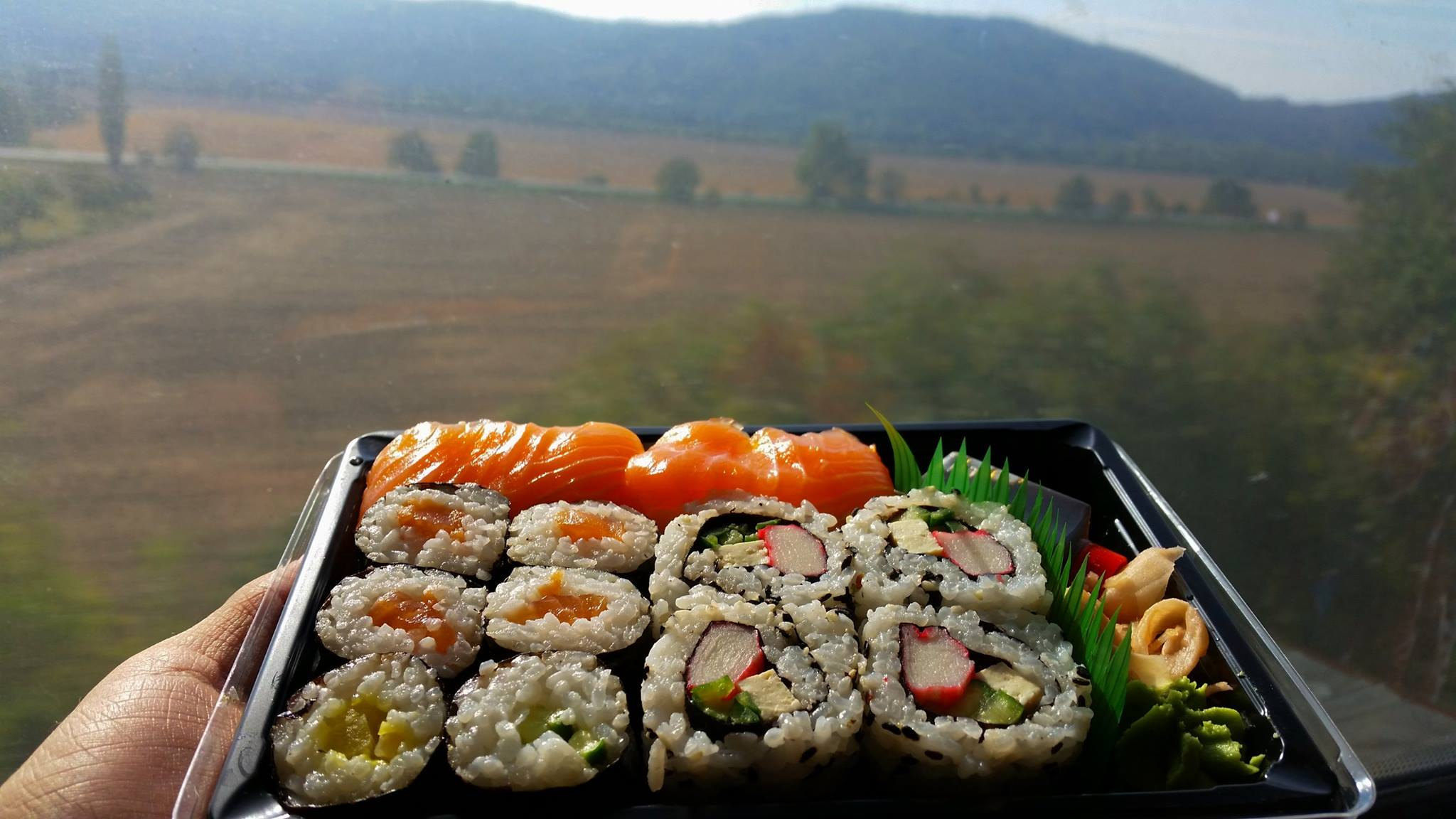 sushi on the train from prague to ostrava