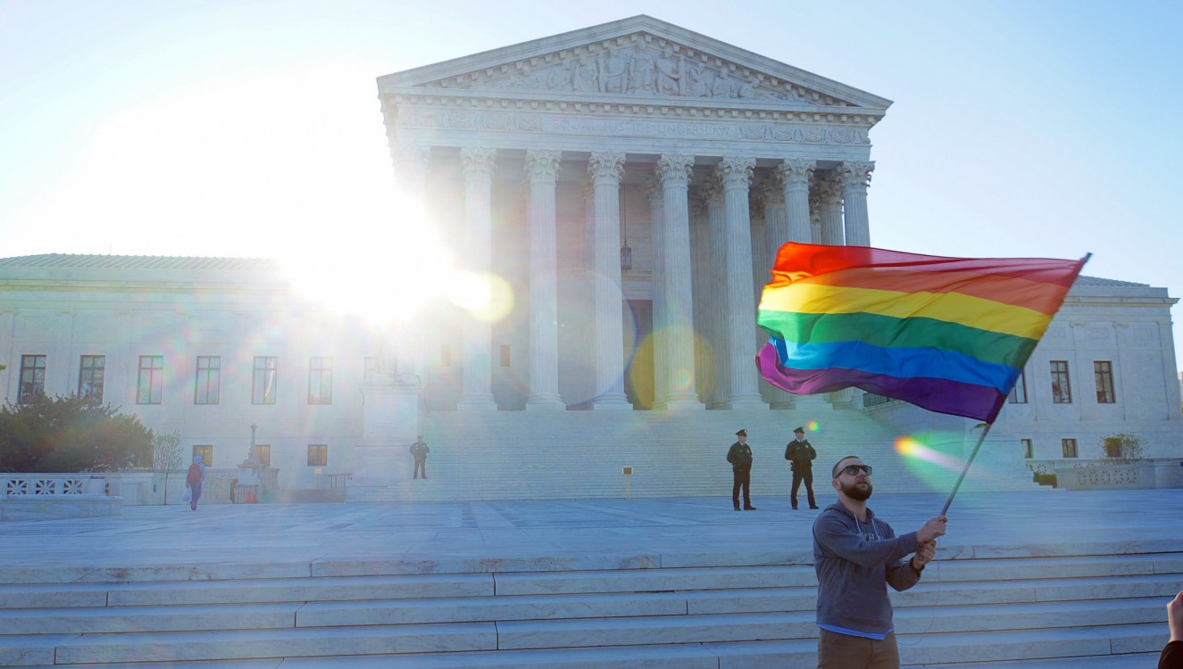 rainbow flag at supreme court