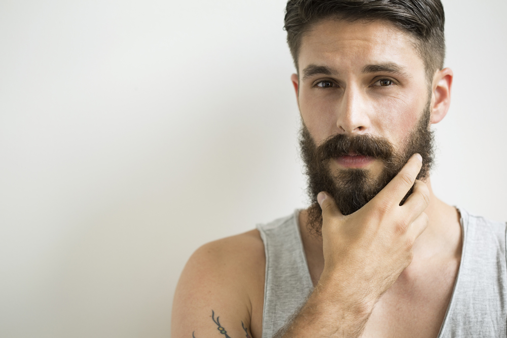 cute white guy beard flirting wrinkle