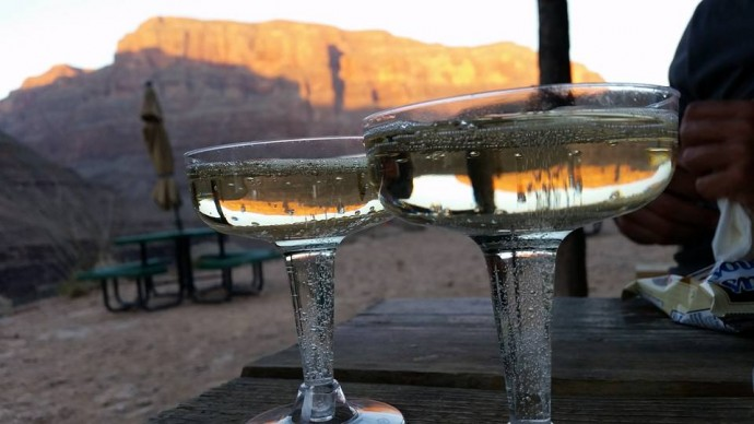 champagne at the bottom of the grand canyon