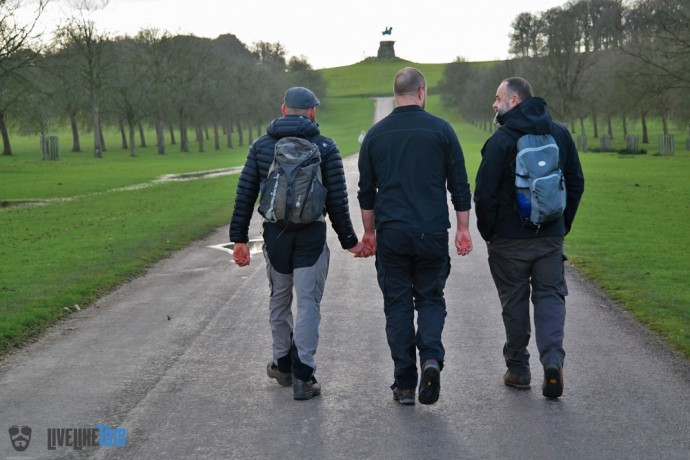 three gay guys hiking