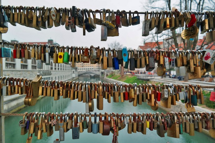 colourful locks on ridge in Ljubljana