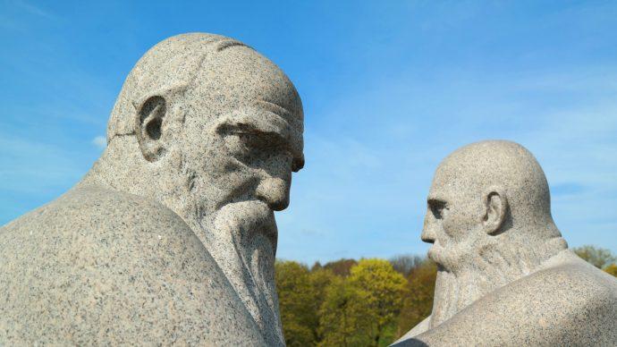 bear bearded men statue vigeland park oslo