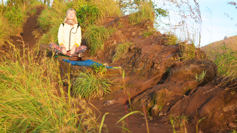 meditation pose sunrise mount batur bali