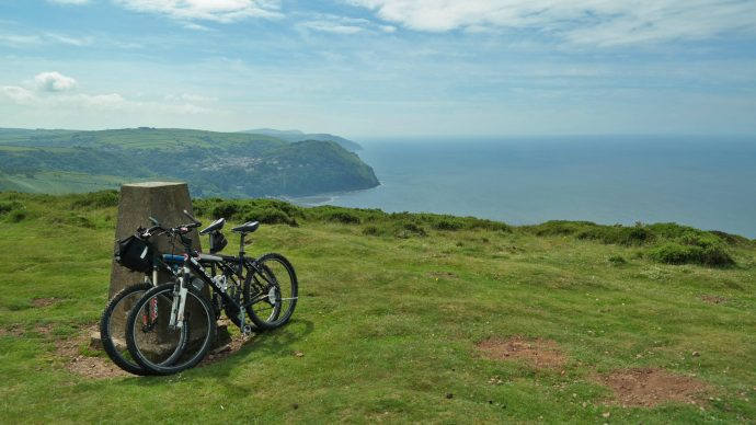 biking mountain cliff devon england