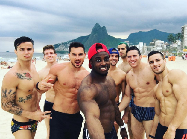 american gymnast team on the beach in rio