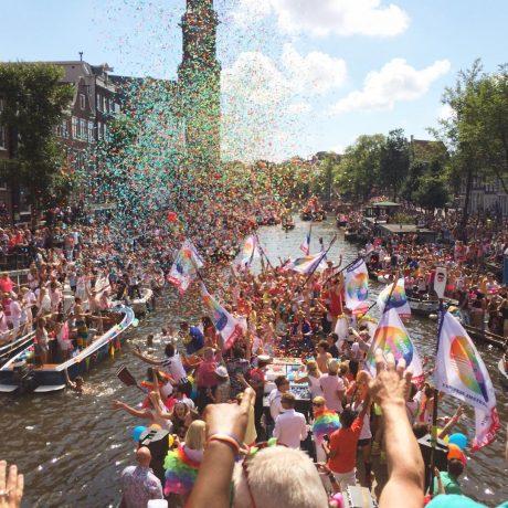 amsterdam gay pride canal confetti europride