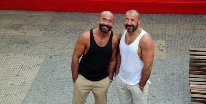 hot scruff gay couple spanish latin beards