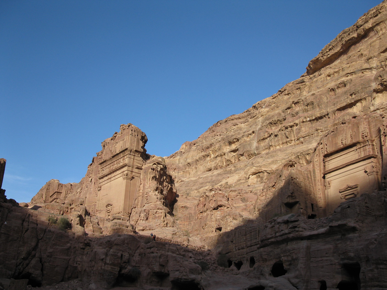 ruins in Petra Jordan old buildings with sun light