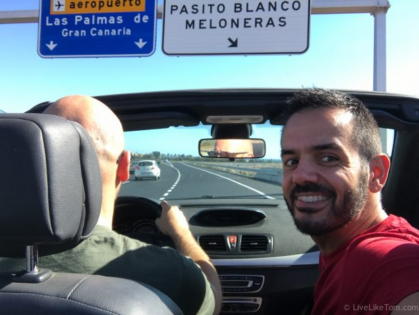 Serge and Alex gay couple driving in Gran Canaria Maspalomas gay couple
