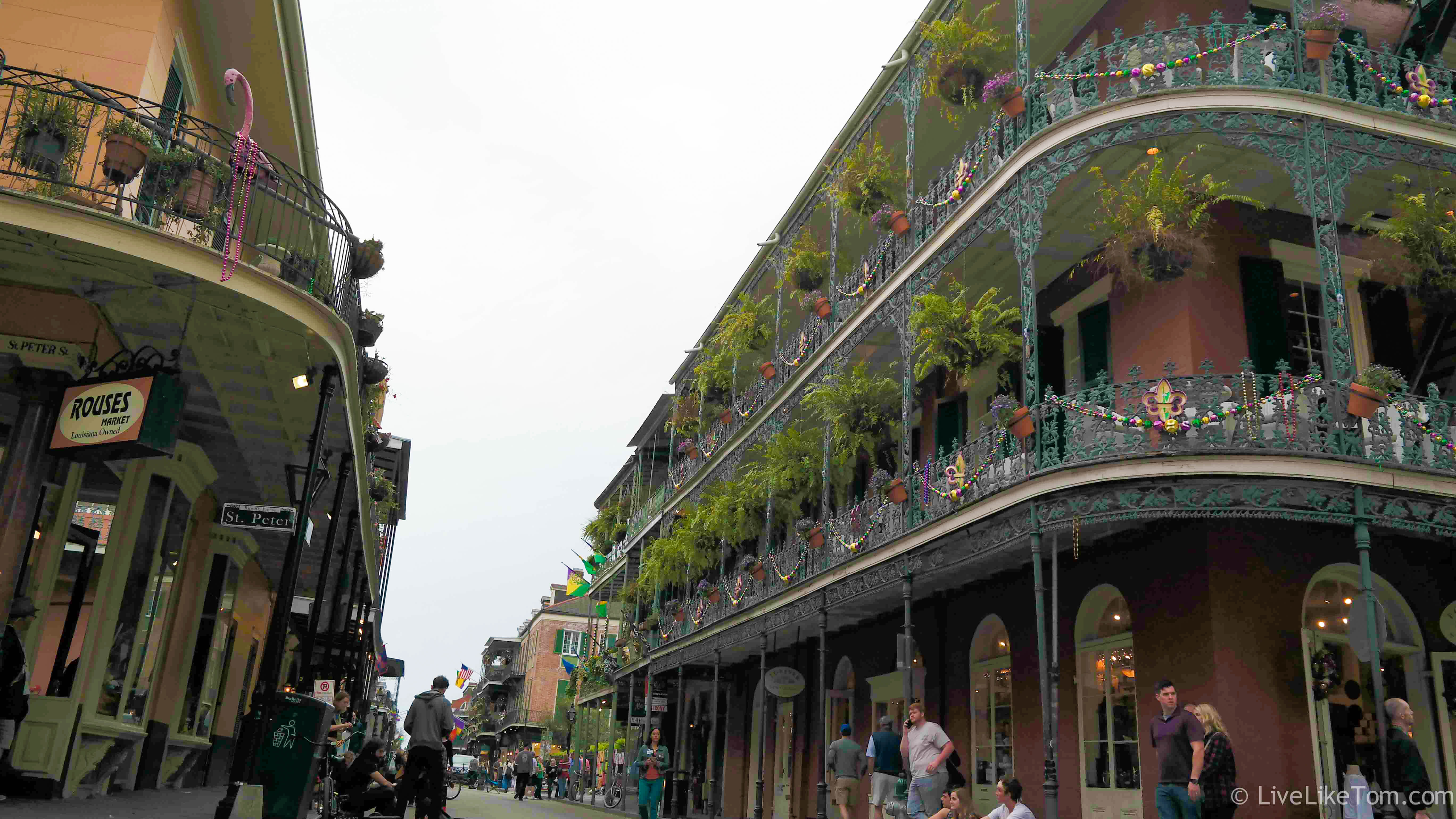 green balconies in french quarter new orleans